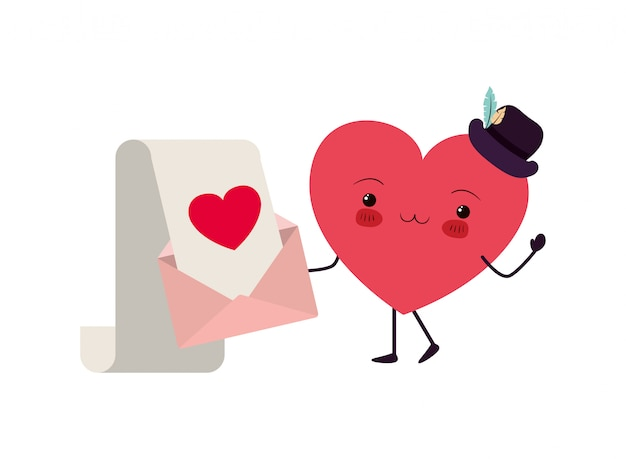 Corações, amor, kawaii, personagem