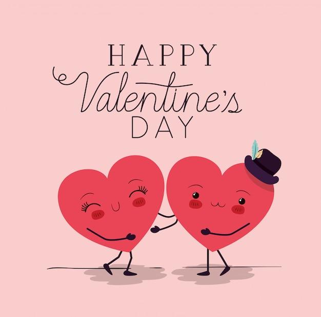 Corações, amor, par, kawaii, caráteres