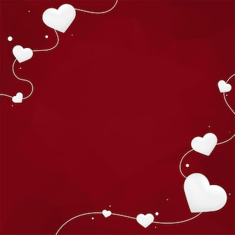 Corações brancos em fundo vermelho