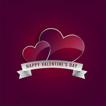 Corações brilhantes com fita para dia dos namorados