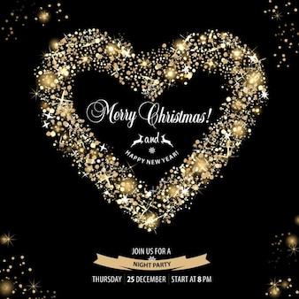 Corações bruxa cartão do convite do natal
