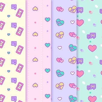 Corações coloridos bonitos dos namorados padrão