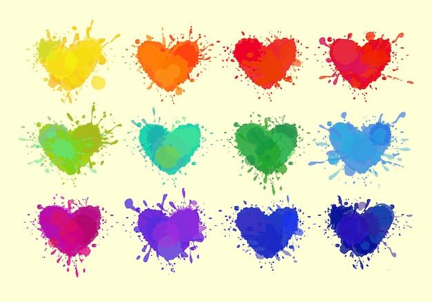 Corações coloridos isolados no branco corações de vetor com manchas de tinta, derramamentos e respingos de vetor eps