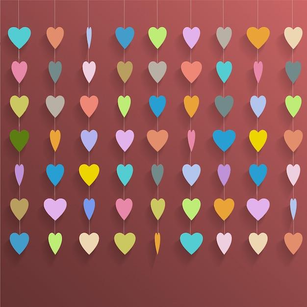 Corações coloridos pendurados