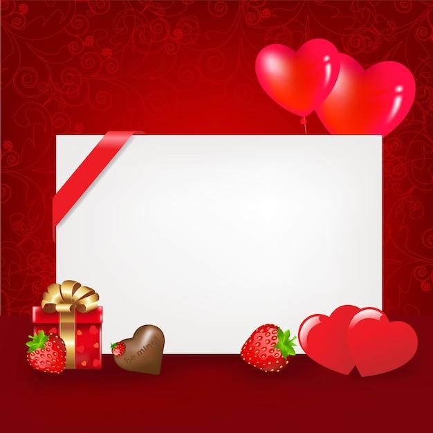 Corações com balões em branco chocolate morango e corações cartão de dia dos namorados