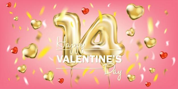Corações com confetes em um fundo rosa, dia dos namorados