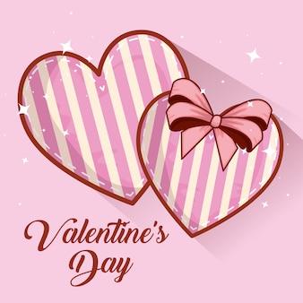 Corações com decoração de laço de fita para dia dos namorados