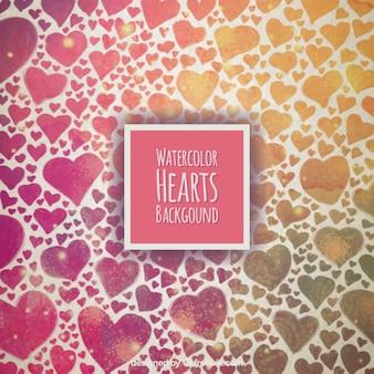 Corações da aguarela fundo
