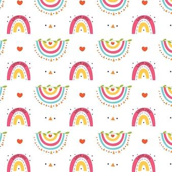 Corações de arco-íris invertidos com padrão colorido