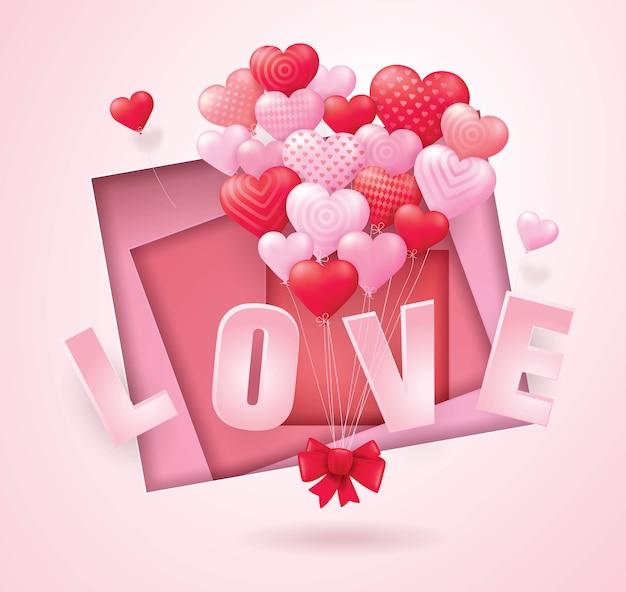 Corações de balão vermelho e rosa voando, arte de papel