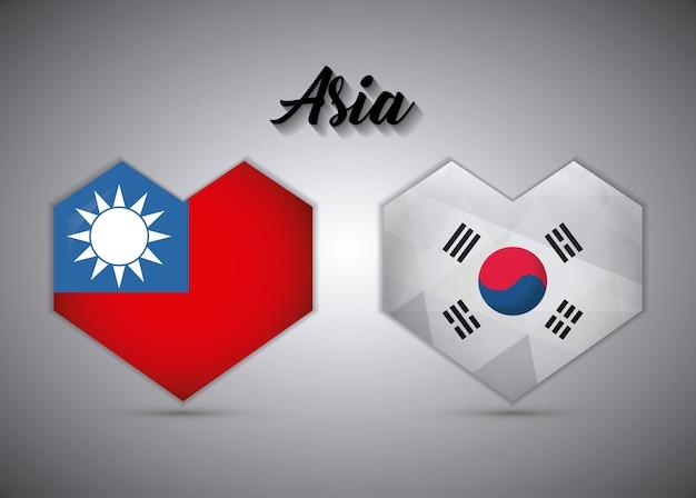 Corações de bandeiras de taiwan e coreia do sul