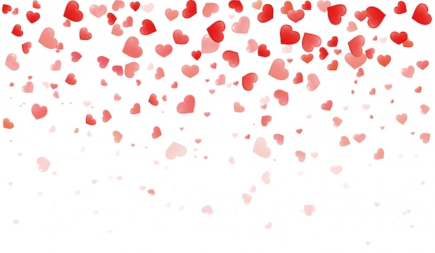 Corações de confete para pétalas de dia dos namorados caindo