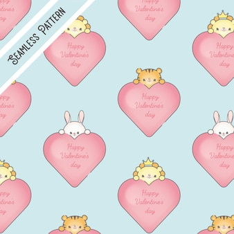 Corações de dia dos namorados fofos e animais kawaii padrão sem emenda premium