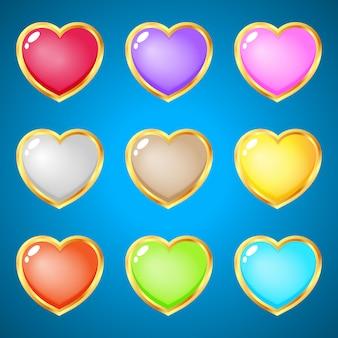 Corações de gemas 9 cores para jogos de quebra-cabeça.