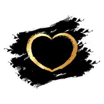 Corações de glitter dourados em manchas pretas, fundo transparente. banner para dia dos namorados, casamento, cartão de amor.