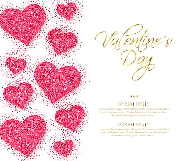 Corações de glitter rosa dia dos namorados