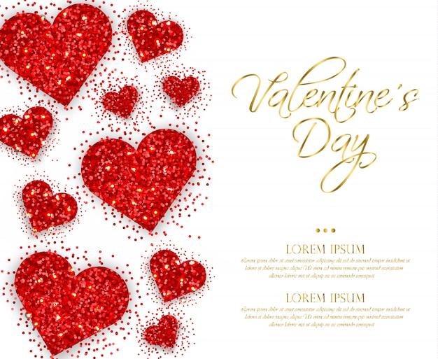 Corações de glitter vermelho dia dos namorados