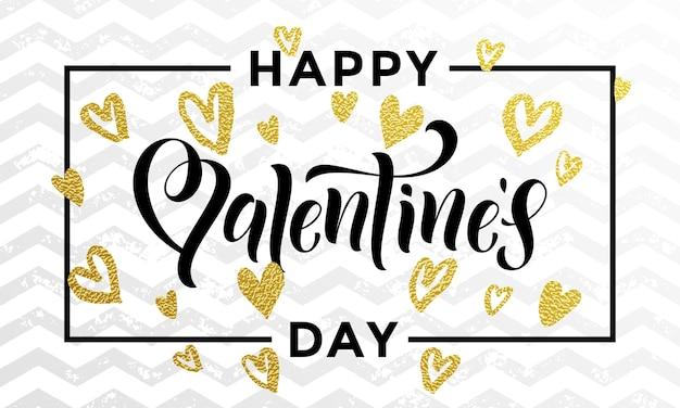 Corações de luxo ouro e texto de letras de dia dos namorados, cartão de felicitações Vetor Premium