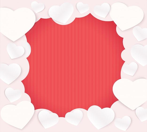 Corações de nuvem em forma de fundo rosa