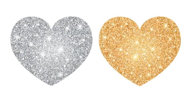 Corações de ouro e prata brilhantes