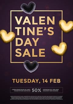 Corações de ouro premium para texto de letras de venda do dia dos namorados no pôster de fundo preto de luxo do vetor