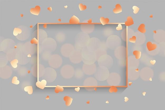 Corações de ouro rosa brilhante com moldura de texto