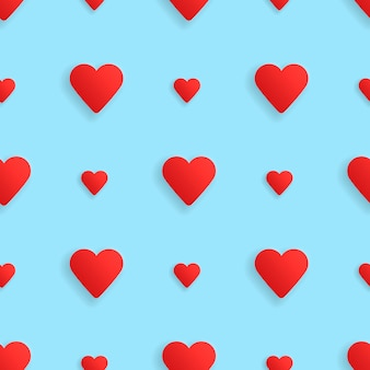 Corações de padrão realistick sem emenda. vetor
