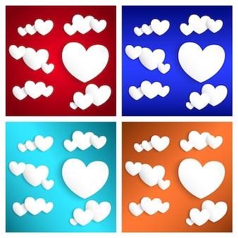 Corações de papel branco