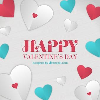 Corações de papel valentine fundo