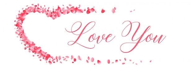Corações de pétala de flor com amor você banner de mensagem