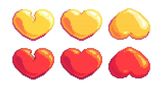 Corações de pixel art vermelhos e dourados de cabeça para baixo e quebrados