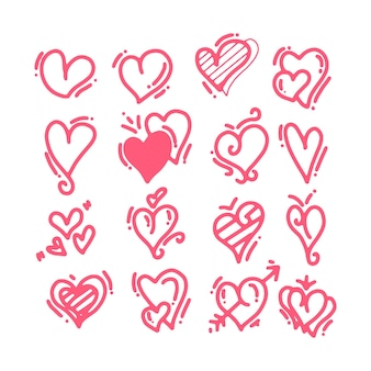 Corações de rabisco de mão desenhada. elementos em forma de coração pintado para cartão de dia dos namorados. conjunto de ícones de corações de amor vermelho doodle. coleção de símbolos românticos em fundo branco