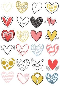 Corações de rabisco mão desenhada