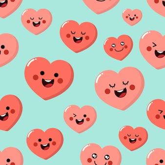 Corações-de-rosa fofos cartoon personagem sem costura padrão