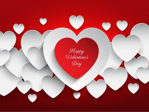Corações dia dos namorados fundo vermelho