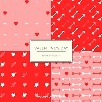 Corações do dia dos namorados e coleção padrão de seta