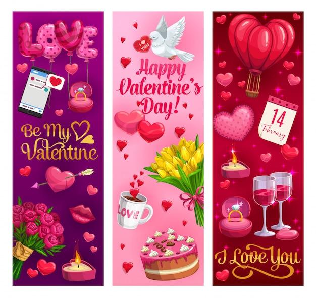 Corações do dia dos namorados e presentes de feriado romântico