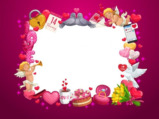 Corações do dia dos namorados e quadro de presentes de feriado de amor