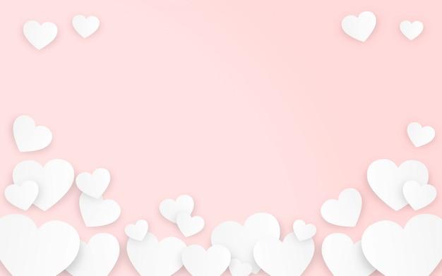 Corações do dia dos namorados em fundo rosa