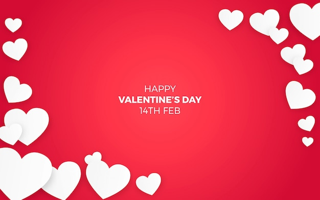Corações do dia dos namorados em fundo vermelho