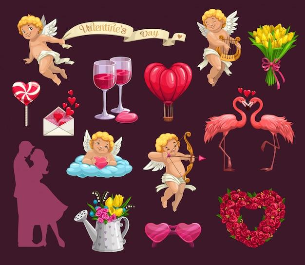 Corações do dia dos namorados, flores e casal apaixonado