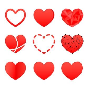 Corações do dia dos namorados. geometria e formas volumétricas