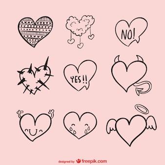 Corações do vetor esboçado