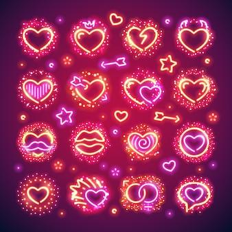 Corações dos namorados com brilhos