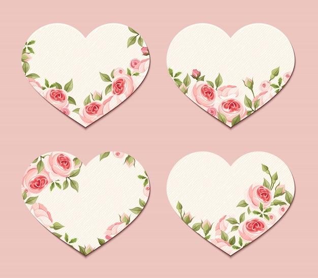 Corações dos namorados com rosas rosa.