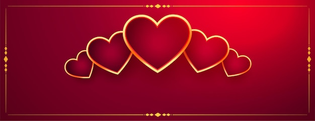 Corações dourados decorativos no banner vermelho do dia dos namorados