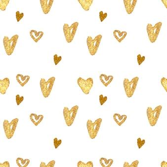 Corações dourados design padrão