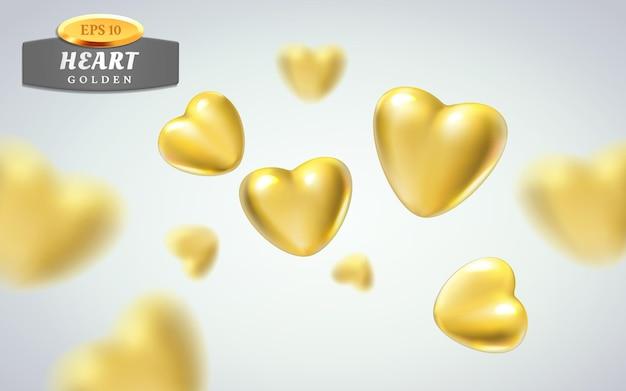 Corações dourados realistas isolados sobre fundo claro.