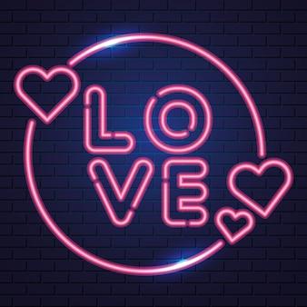 Corações e amor, néon