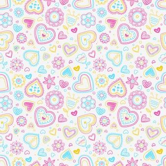 Corações e flores padrão